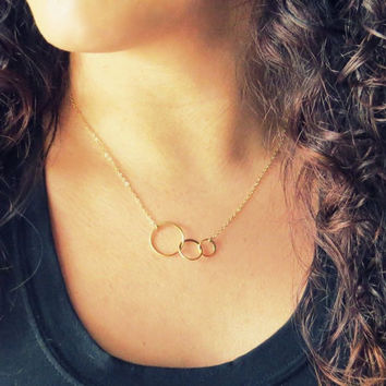 Three Circles Eternity Necklace, Linked rings, Trinity Karma, Gold, Circles Necklace, Trinity Necklace, Gold Karma Necklace, Karma Charm