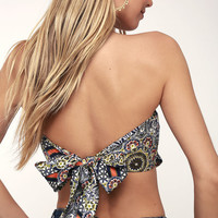 Catch a Wave Navy Blue Print Strapless Handkerchief Top