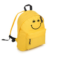 stoned smiley backpack school bag rucksack sports tumblr hipster grunge fun festival goth kawaii cute face fashion cannabis weed drug