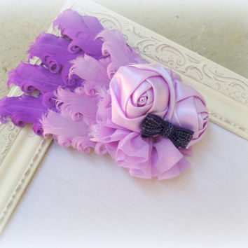 Hair clip headband, goth  feather Boudoir headband, fascinator, lavender ,steampunk hair accessories,Cottage chic accessories,