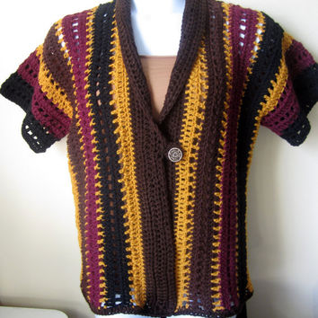 Crochet sweater, Stripe Crochet cardigan Multicolor Boho chic, gypsy, hippie retro, festivals