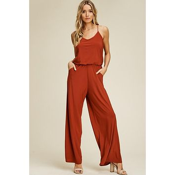Racerback Knit Jumpsuit - Rust