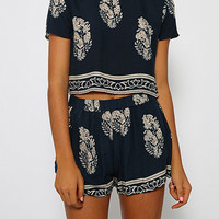 Navy Short Sleeve Leaves Print Crop Top With Shorts
