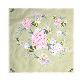 Bees scarf olive