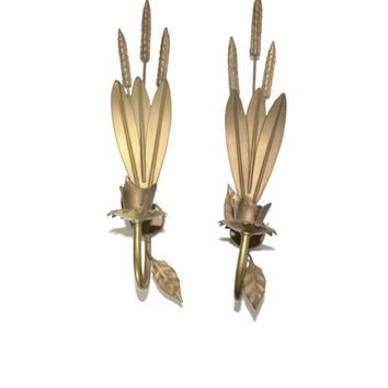 Brass Wall Sconce Wheat Wall Sconce Wheat Candle Holders Bronze Wall Sconces Bronze Wheat Sheaf Wheat Bunch Set of 2 Wall Sconces