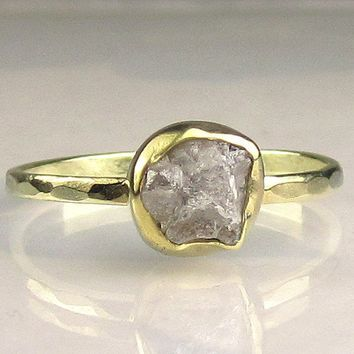 Natural Rough Diamond Ring 18k and 14k Gold by JanishJewels