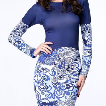 Casual Round Neck Tribal Printed Delicate Plus Size Bodycon Dress
