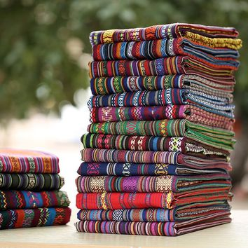 Colorful Ethnic style cotton and Linen Fabric for DIY Handmade Home or Bar Tablecloths curtain pillows Decoration