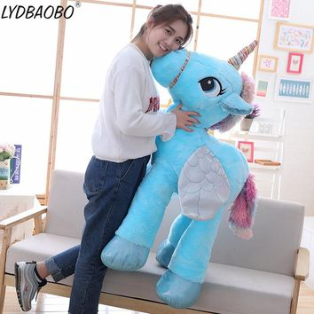 1pc 90cm Giant Stuffed Animal Baby Dolls Kawaii Cartoon Rainbow Unicorn Plush toys Kids Present Toys Children Baby Birthday Gift