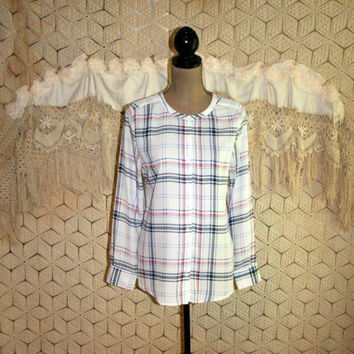 Chiffon Blouse Medium White Plaid Collarless Shirt Long Sleeve Tops Button Up Loose Fitting Soft Grunge Hipster Medium Womens Clothing