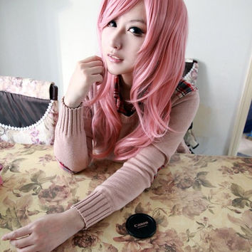 Vocaloid-Luka cosplay anime High quality lace front synthetic curly wig,Colorful Candy Colored synthetic Hair Extension Hair piece 1pcs WIG-014C