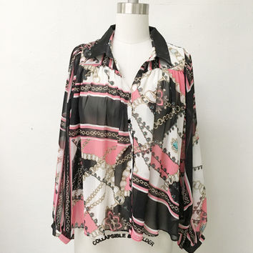 I.Madeline Scarf Print Top