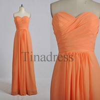 Custom Orange Long Prom Dresses Bridesmaid Dresses 2014 Wedding Party Dress Party Dresses Evening Gowns Formal Wear Homecoming Dresses