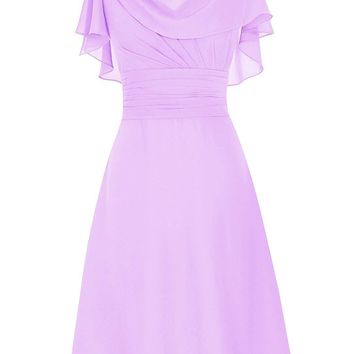 US Women's Short Prom Dress Cowl Bridesmaid Dress Chiffon Mother Of Bride Dress