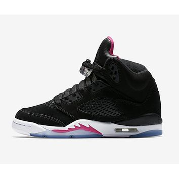 Nike Air Jordan 5 Retro GS Deadly Pink 440892-029 Black/Deadly Pink-White WoMensneakers Sport Shoes