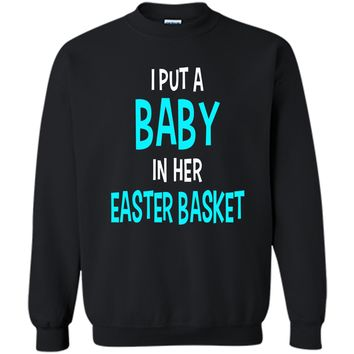 Funny Pregnancy Announcement Dad Easter Baby Announcement Printed Crewneck Pullover Sweatshirt 8 oz