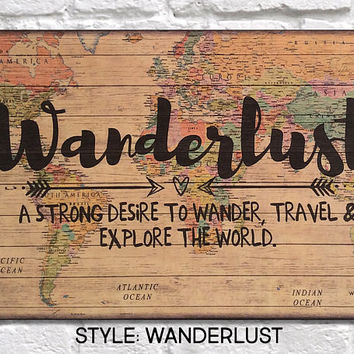 Travel gift World Map Wood wall art Outdoors gift Wanderlust Christmas Gifts for Women gift for Men gift for Boyfriend Panel effect Wood art