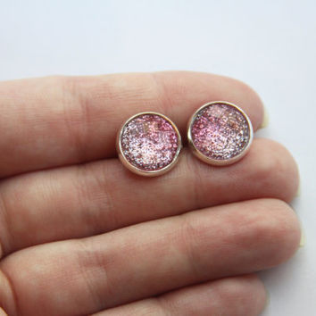 NEW - Faceted Pink Ombre Glitter Earrings - Posts/Studs 12mm LARGE