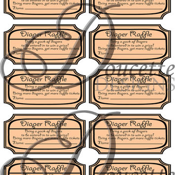 Instant Download-Vintage Rustic Printable Diaper Raffle Tickets Unisex Neutral Baby Shower Game