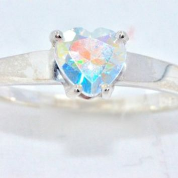 1 Carat Genuine Mercury Mist Mystic Topaz Heart Ring .925 Sterling Silver Rhodium Finish White Gold Quality