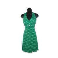Womens Altered Mod Spring Green with white Polka Dots Neck Tie Halter Rockabilly Retro Chic Dress Size Extra Large
