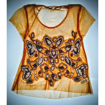 Kimchi Blue - orange net embroidered top - size small -.