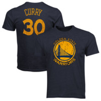 Majestic Threads Stephen Curry Golden State Warriors Name and Number Premium Tri-Blend T-Shirt - Navy Blue