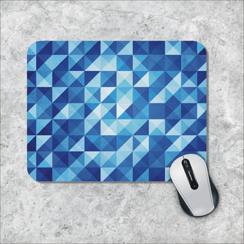 Geometric Mousepad, BlueTriangles Mouse Pad, Custom Mousepad, Argyle Mouse Mat, Personalized Computer Accessories, Custom Mouse Pad