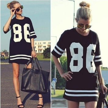 Free shopping New 2014 Summer Women T Shirt Top Short Sleeve Loose Dress = 5617086465