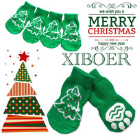 New 4 pcs / set Indoor Warm Sock Skid Bottom Dog Socks Pet Dog Soft Cotton Anti-slip Knit Weave Green Christmas Tree
