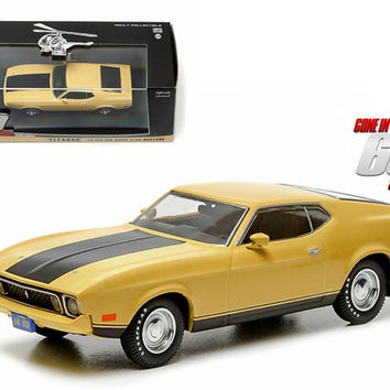 """1973 Ford Mustang Mach 1 Yellow """"Eleanor"""" """"Gone in Sixty Seconds"""" Movie (1974) 1-43 Diecast Model Car by Greenlight"""