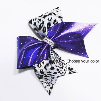 softball bow, cheer bow, purple cheer bow, rhinestone cheer bow, leopard cheer bow, cheerleader bow, cheerleading bow, cheer bows, dance bow