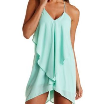 Draped & Caped Ruffle Trapeze Dress by Charlotte Russe