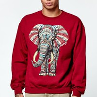 Riot Society Ornate Elephant Crew Neck Sweatshirt - Mens Hoodie - Maroon