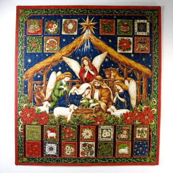 Nativity Advent Calendar  Religious Quilted Wall Hanging  Heirloom Keepsake