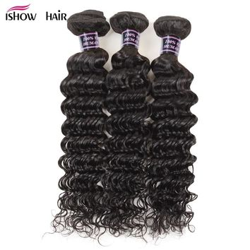 Ishow Hair Deep Wave 3 Bundles/Lot Malaysian Deep Curly Human Hair Weave 100  Malaysian Curly Non Remy Hair For Black