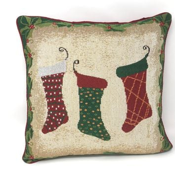 Tache Festive Christmas Holiday Hang My Stockings By the Fireplace Cushion Cover