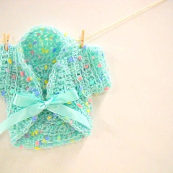 American Girl Doll Clothes Shrug, Short Sleeved Sweater for 18 Inch Dolls, Aqua Doll Sweater