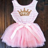 New Gold Crown Newborn Baby Dress Clothes For Girls Summer 1 Year Baby Girl Birthday Party Dress Toddler Girl Christening Gown