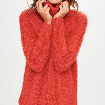 Missguided - Red Fluffy Cable Roll Neck Longline Sweater