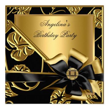 Elegant Birthday Party Gold Black Floral Damask Invite from Zazzle.com