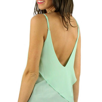 Backless Ruffled Spaghetti Strap Blouse - Mint