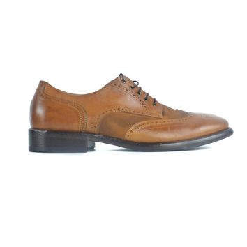 Redwood Mens Brown Leather Brogue Lace Up Oxford Shoes