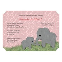 Mom and Baby Elephant Pink Baby Shower Invitation
