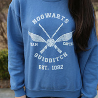 Harry Potter Clothing Hogwarts Quidditch Sweatshirt Team Captain Blue Unisex
