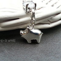 Cute Piggy Pig Navel Piercing Jewelry Ring- Silver Pig Charm Dangle Navel Piercing Bar Barbell- B060