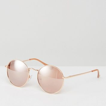ASOS 90s Metal Round Sunglasses In Rose Gold at asos.com