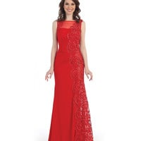 Preorder -  Red Embroidered Sheer Back Full Length Gown 2015 Prom Dresses
