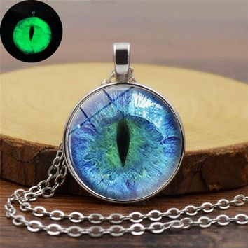 Glow In The Dark Pendant Necklace Dragon Eye Art Photo Glass Cabochon Glowing Jewelry Silver Chain Necklace for Women Men