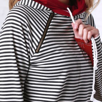 Black and White Stripes with Burgundy Double Hoodie